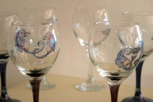 Vivienne Bashford Sea Horses on wine glass